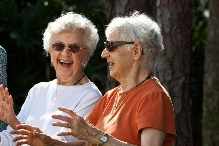 Residents enjoying conversation outdoors