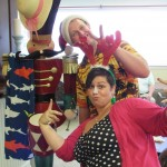 Our Community Life staff posing with the tin soldier.