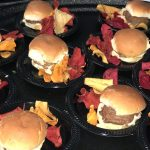 Humanely raised free range organic mini sliders with natural white american cheese with non GMO veggie chips.