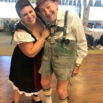 Resident Hugo is wearing his 50+ year old Lederhosen from Germany with Beer Maiden, Melissa, dancing to a classic Waltz.