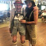 Resident Hugo is wearing his 50+ year old Lederhosen from Germany with the modern stylings from Eva.
